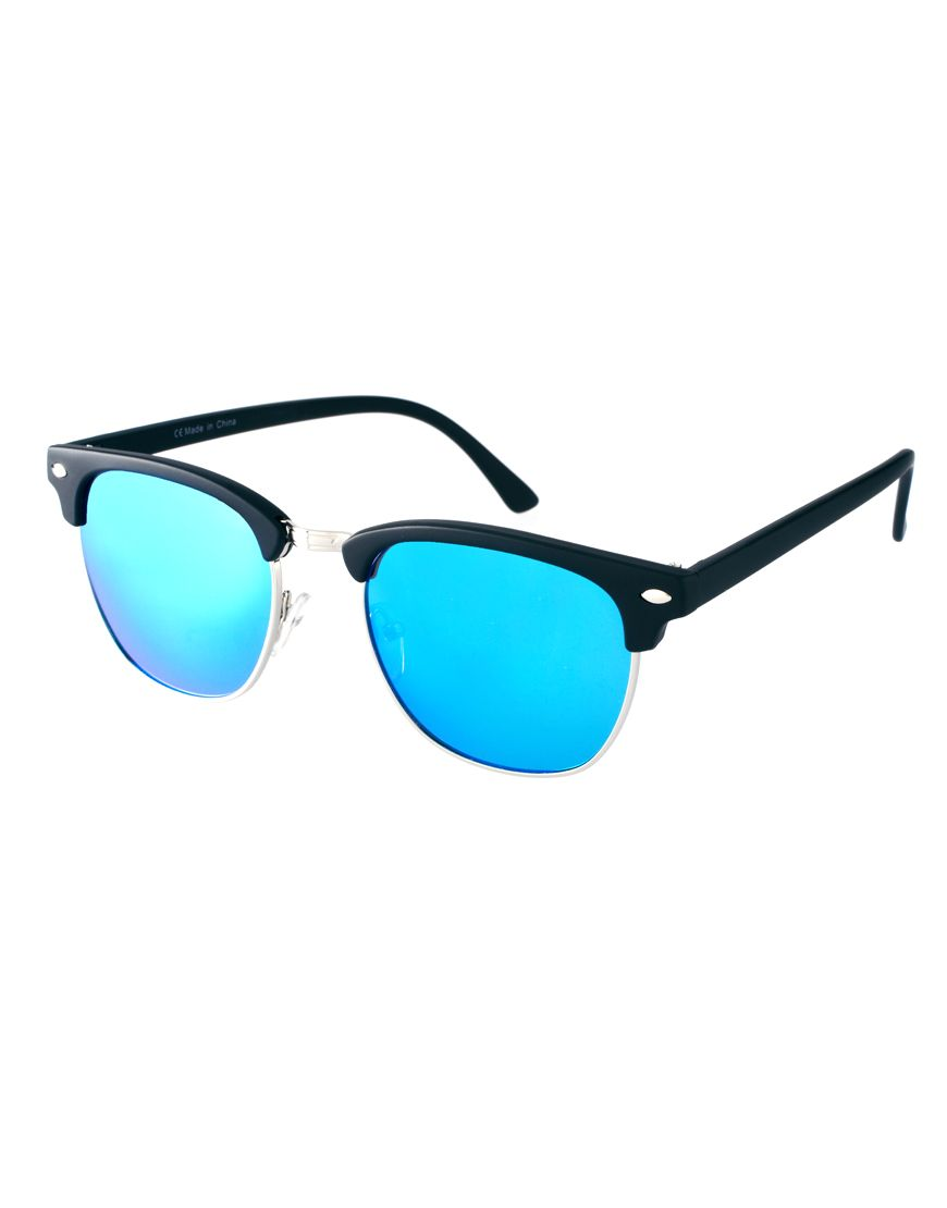 Clubmaster Sunglasses With Blue Mirror Lens 9809d19761