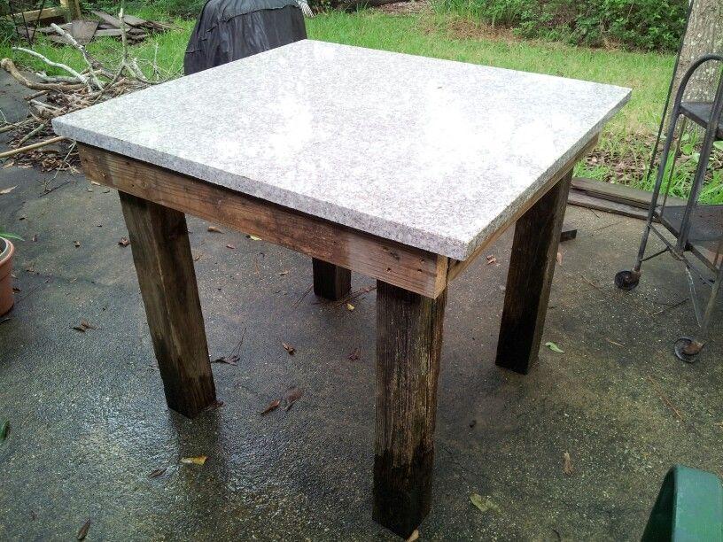 Prep Table Made From Scrap Granite Wood Granite Table Granite