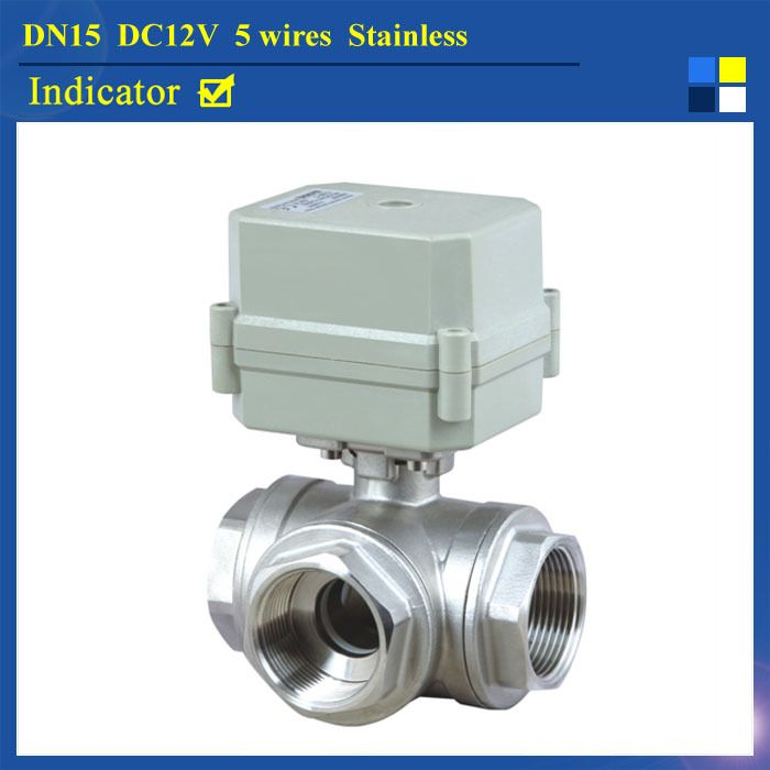 Dn15 Dc12v 5 Wires Bsp Npt 1 2 3 Way L Type Electric Water Ball Valve Stainless Steel Ball Valve With Positio Electric Water Valve Water Valves Water Heating