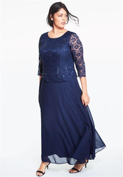Lace Popover Dress | Plus Size Special Occasion Dresses ...