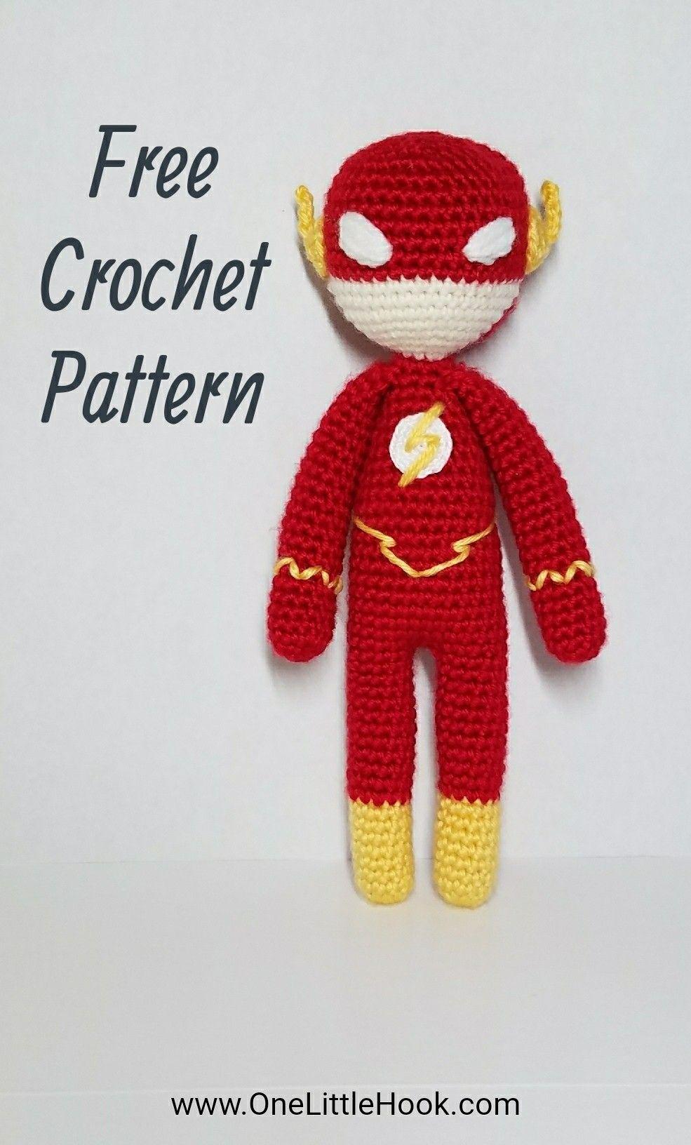 The Flash FREE crochet pattern, amigurumi, OneLittleHook Superhero ...