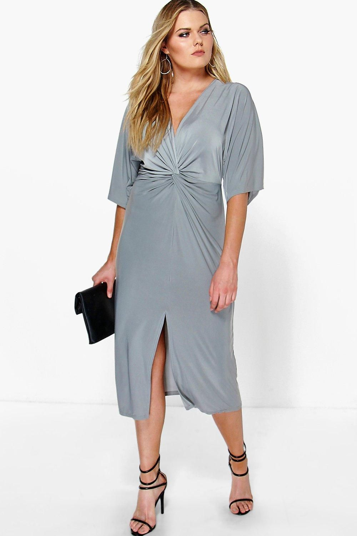 Plus Esme Kimono Sleeve Wrap Front Midi Dress | Midi dresses ...