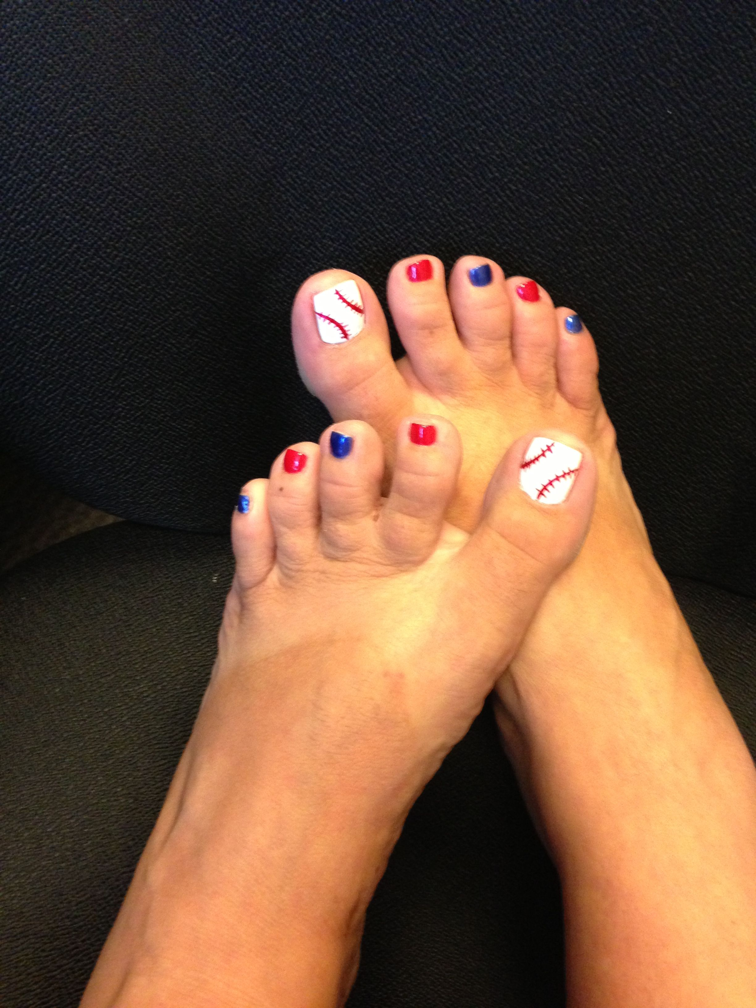 Baseball toenails   I like it!   Pinterest   Pedicures, Hair makeup ...