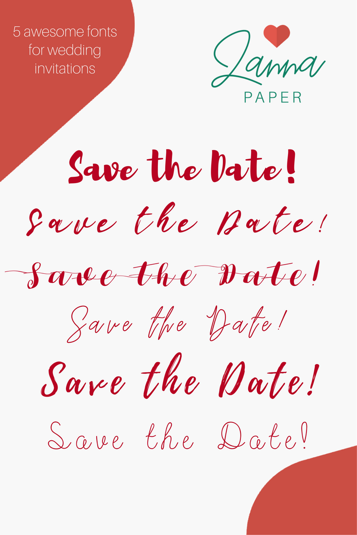 Customize your wedding invitation with a font that suits your theme ...