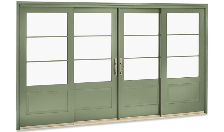 Superb 4 Panel Wooden Sliding Patio Door In Sage Green Finish