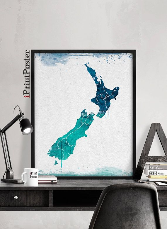New zealand map art print poster new zealand watercolour map wall new zealand map art print poster new zealand watercolour map wall art office decor travel gift home decor iprintposter gumiabroncs Gallery
