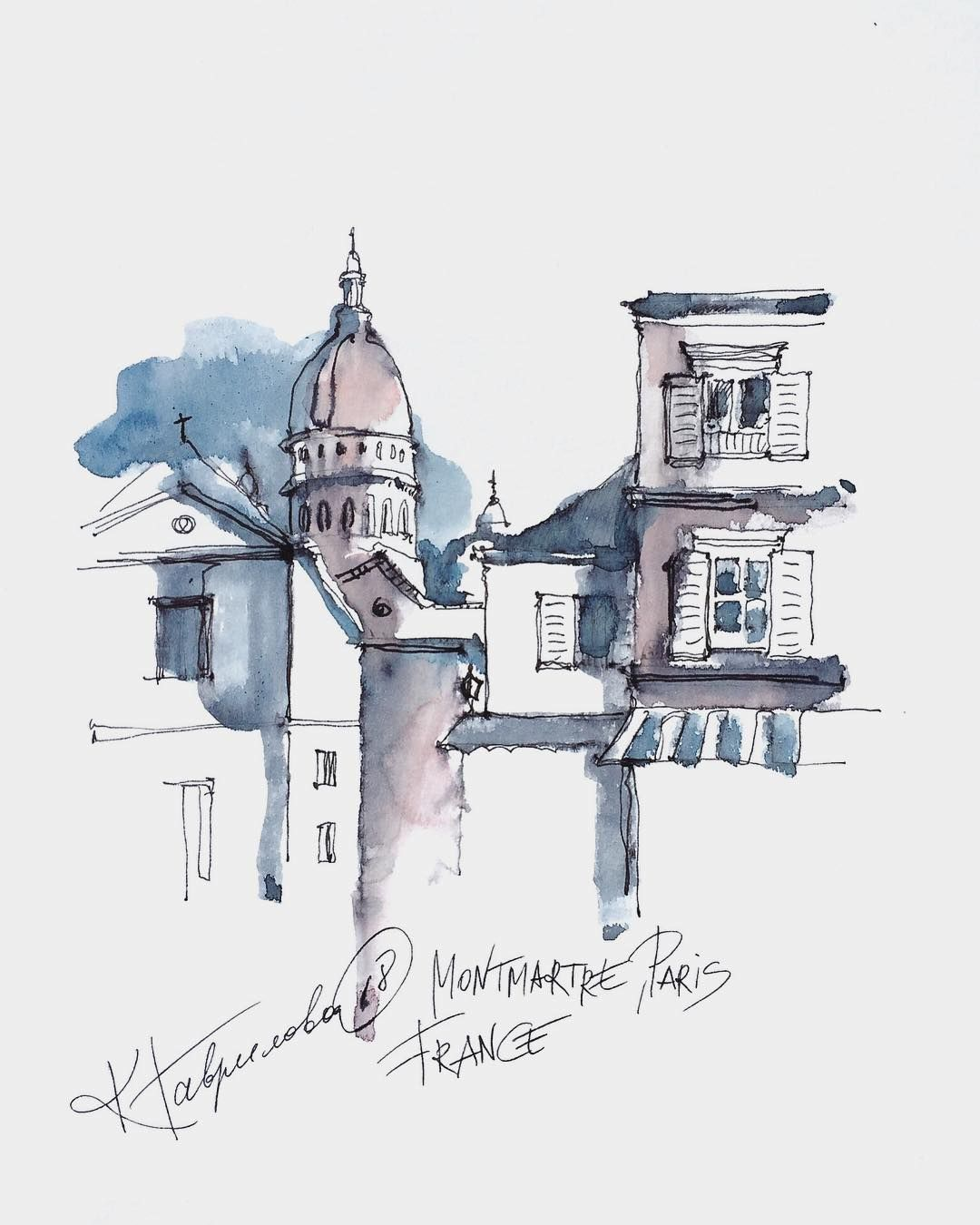 Watercolor Artist On Instagram Inspired By Montmartre Paris