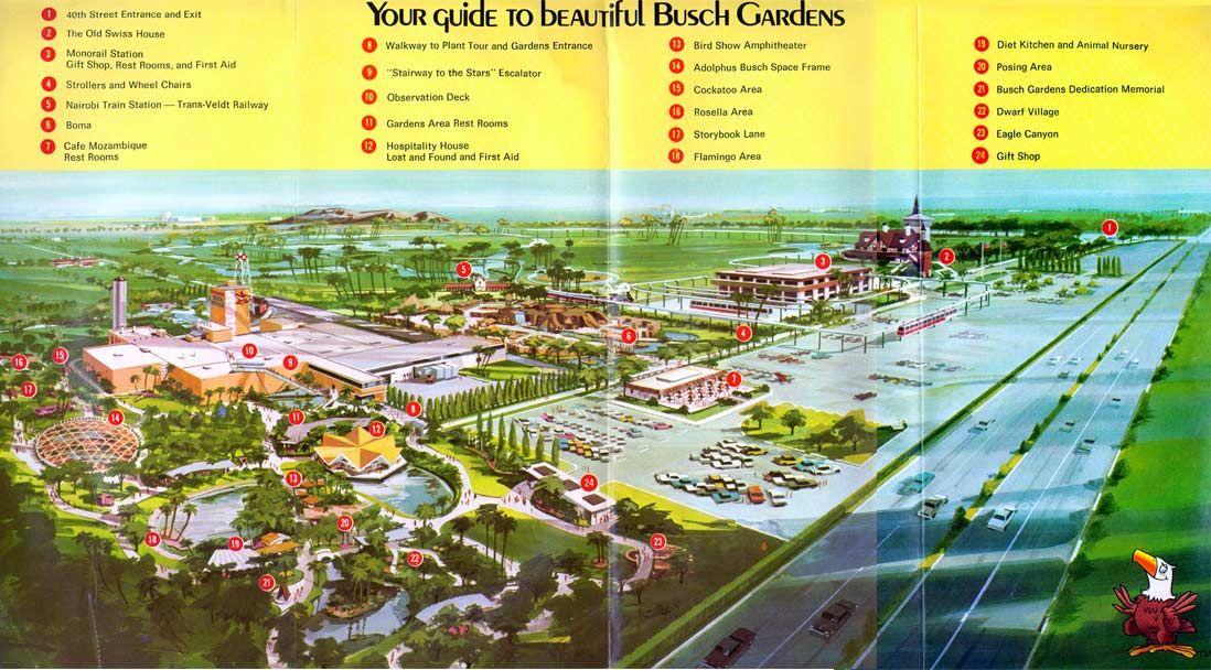 Busch Gardens Tampa 1960s Theme Park Maps Pinterest