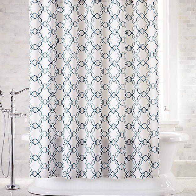 Lago Trellis Shower Curtain Crate And Barrel Blue Shower