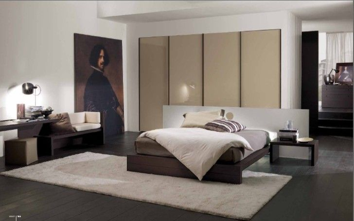 Design and Idea of Contemporary Bedroom for Large Space: Surprising Contemporary Bedroom Design Pictures From Mobileffe With White Double Sized Bed Pillow Blanket White Rug On Dark Wooden Flooring Wall Painting Large Picture Ornament ~ workdon.com Bedroom Design Inspiration