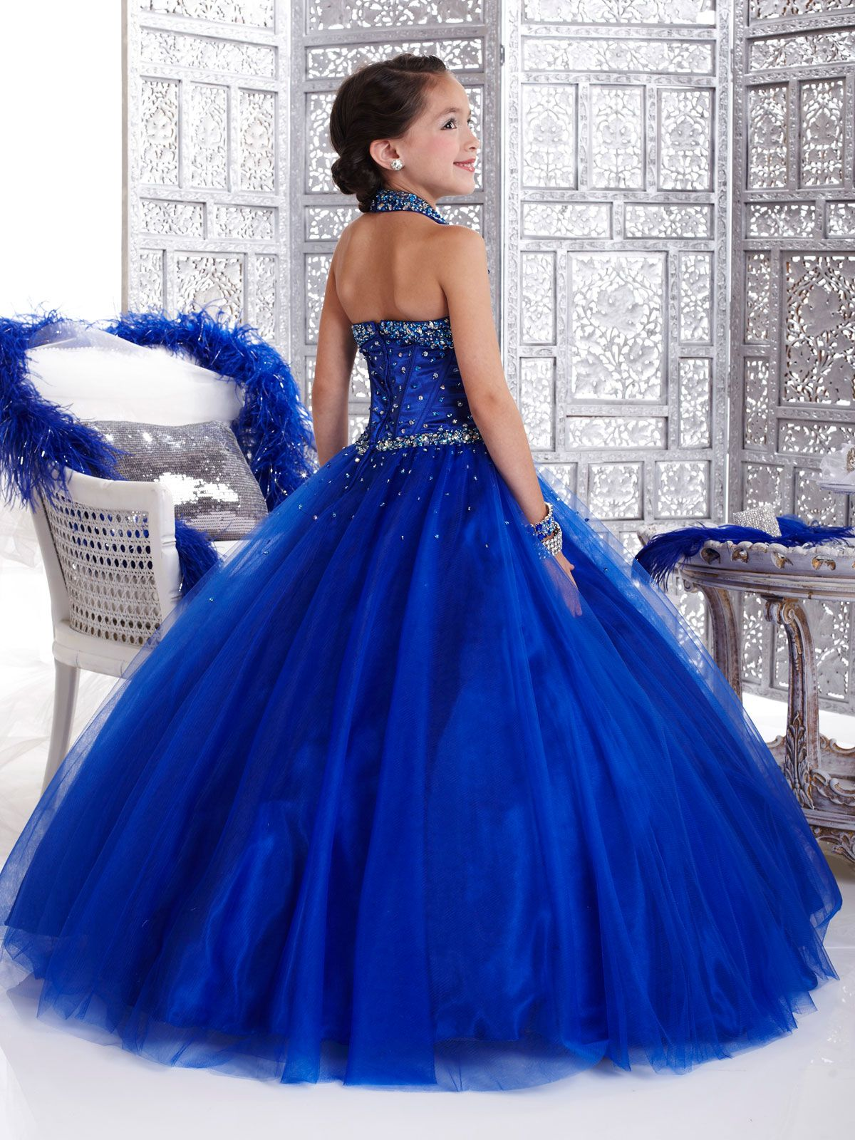 Back view Ball Gown Halter Tulle Pageant Dress Tiffany Glitz Girls ...