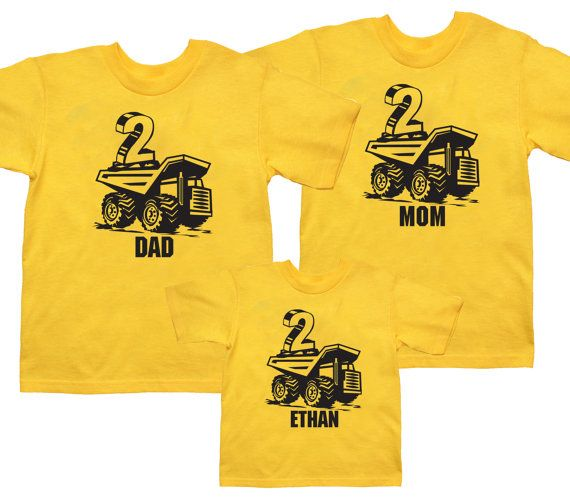 This Is A Set Of 3 Personalized Dump Truck Party Shirts You Do Not Have To Choose 2 Adult Sizes And 1 Child Can Any Combination