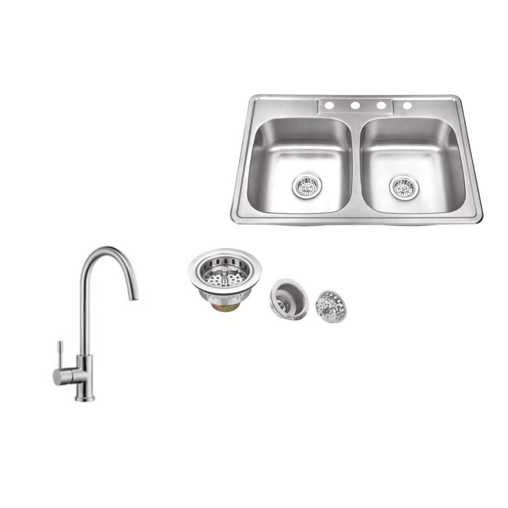 Drop-in 33 in. 4-Hole Stainless Steel Kitchen Sink in Brushed ...