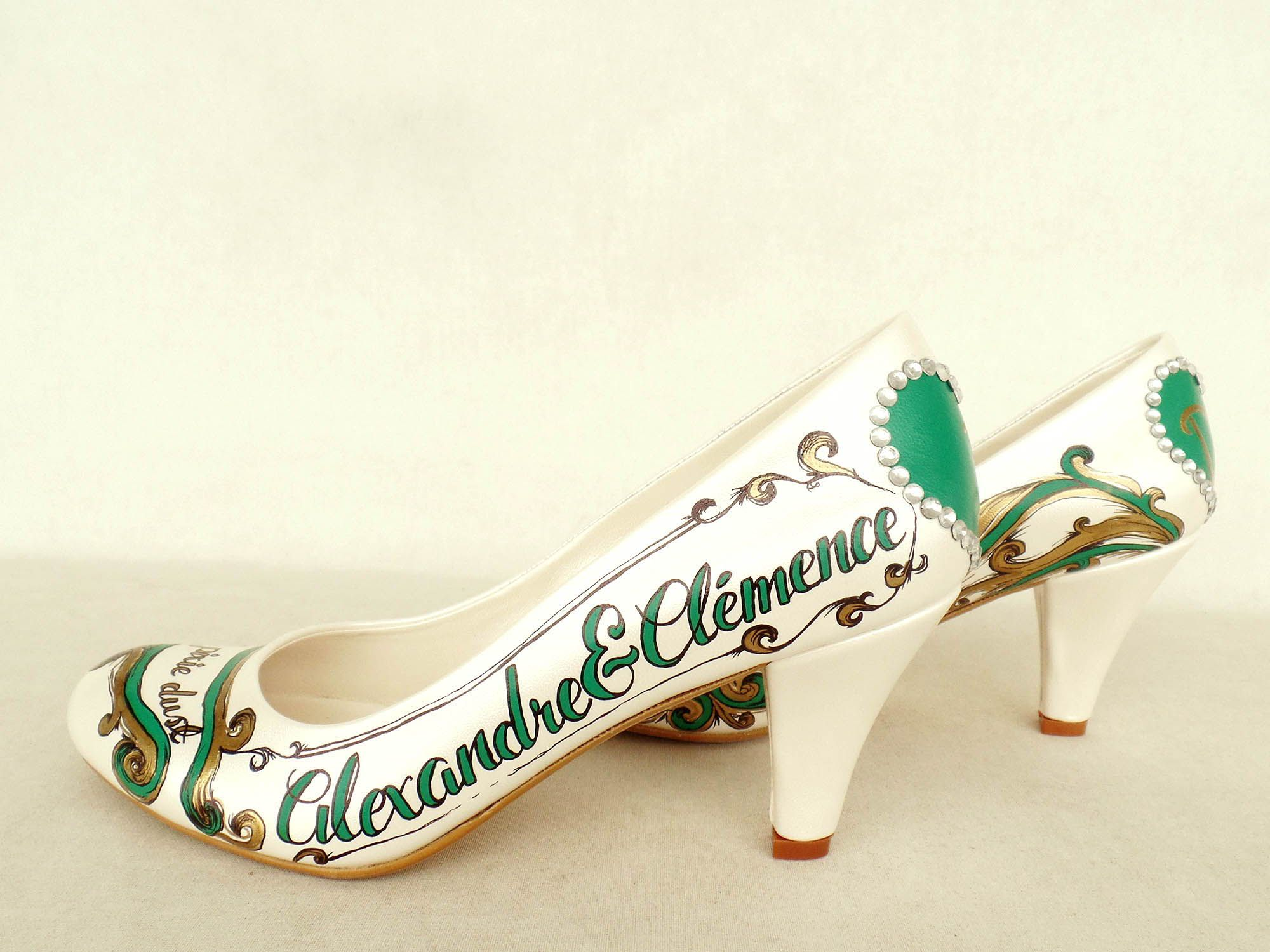 Emerald green gold wedding shoes