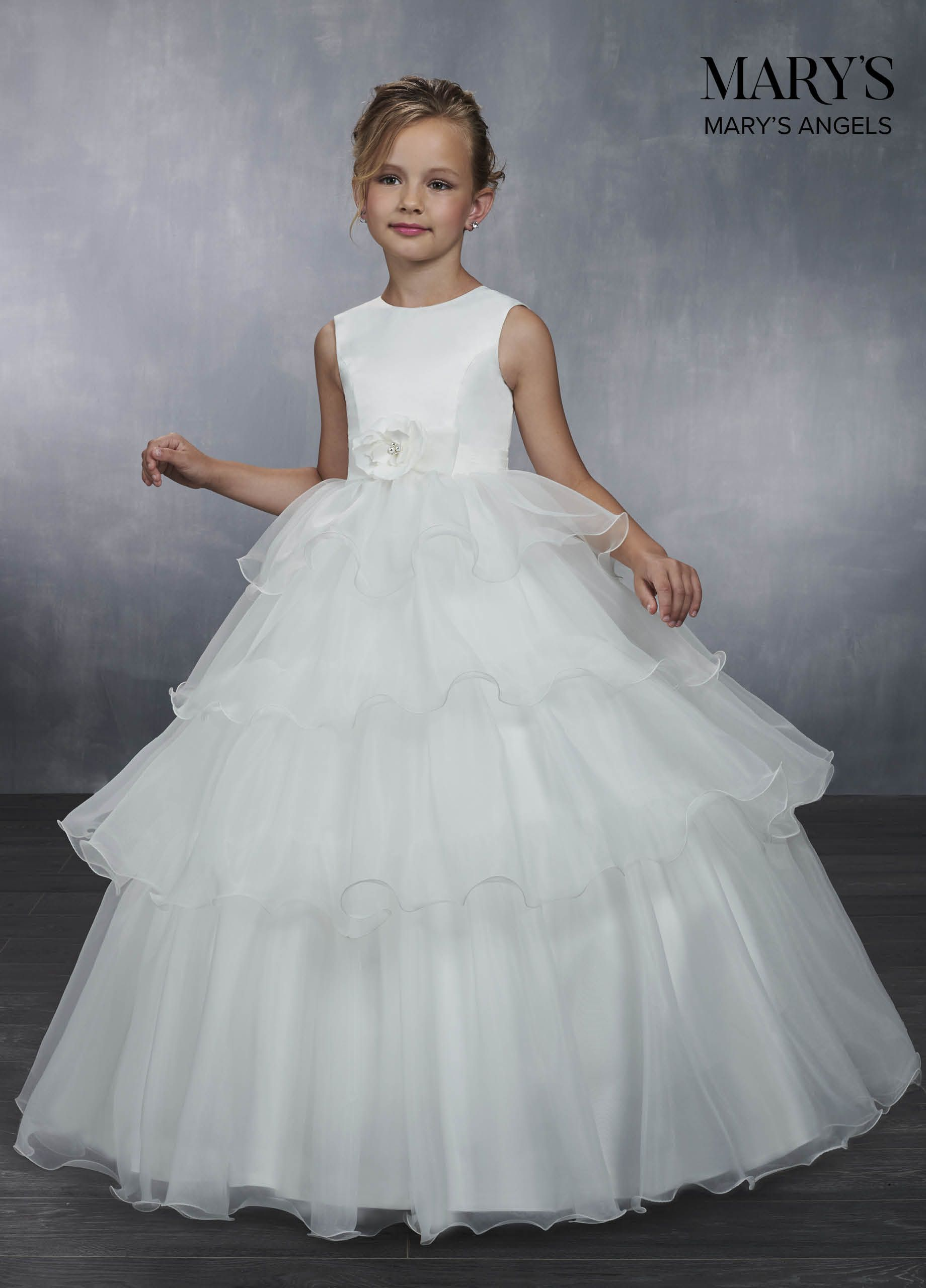 03b66e868d6 Jewel neck flowergirl ball gown features sleeveless satin top with pleated  waistline and zipper back closure