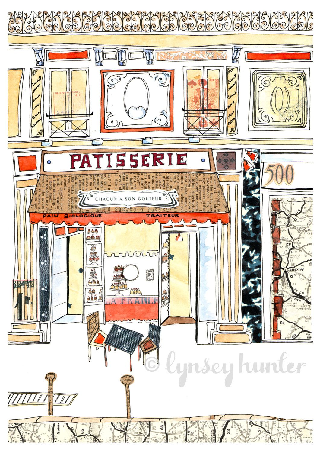 French Patisserie Ink Watercolour And Collage Illustration