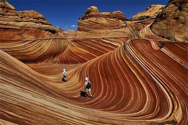 These wave rock formations are located near the Utah-Arizona state lines.