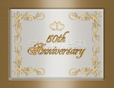 Th golden wedding anniversary greeting card background template