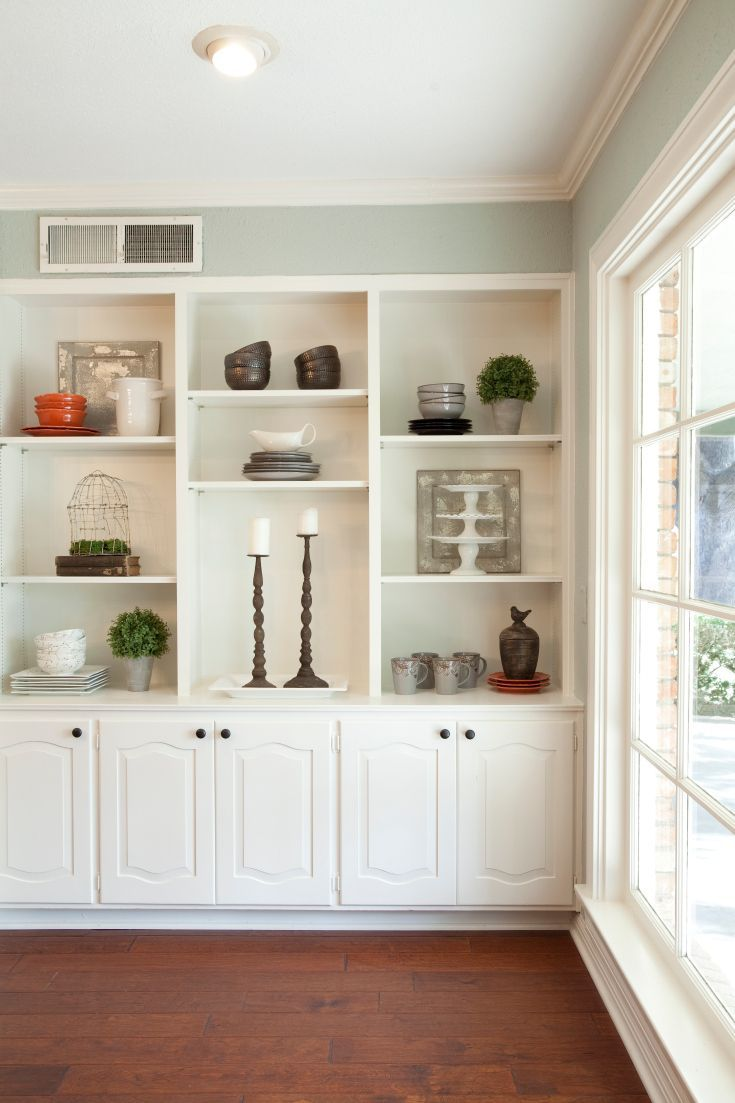 Living Room Decor Rustic Farmhouse Style White Painted Builtin -  living room built in cabinets