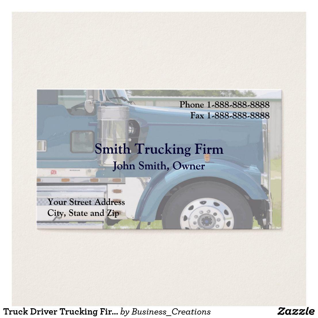 Truck Driver Trucking Firm Business Card   Business cards