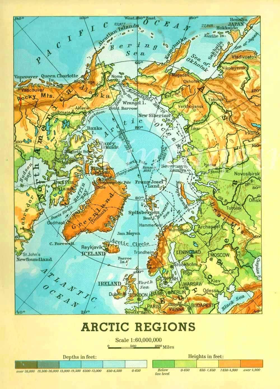 Map Of Canada And Alaska.Vintage Map Antarctica And Arctic Ocean Alaska Canada Germany Polar
