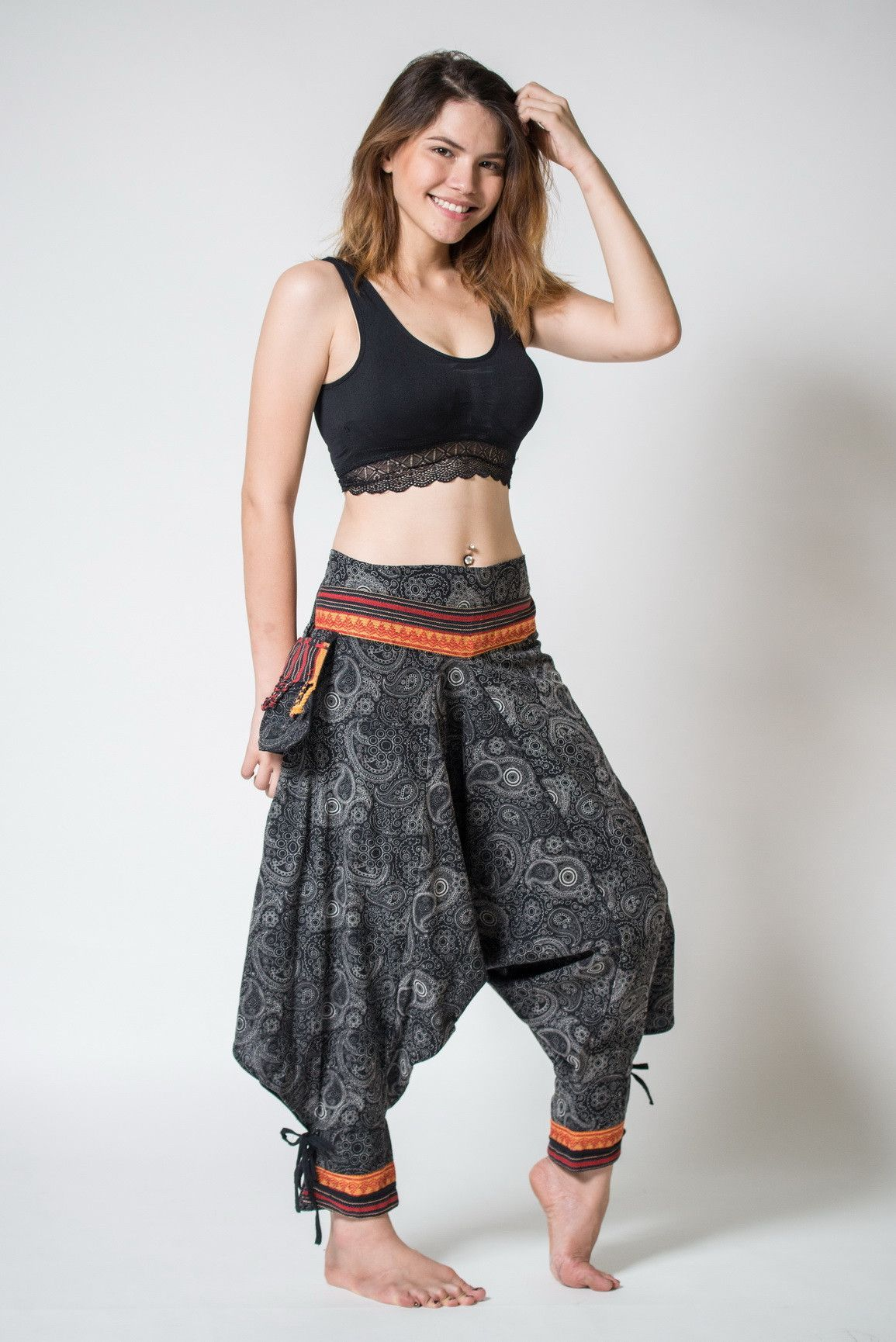 26afb6ea427c92 Paisley Thai Hill Tribe Fabric Women s Harem Pants with Ankle Straps - I  like the ankle treatment and the pocket