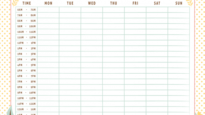 monthly work schedule time table