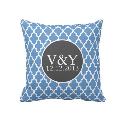 Quatrefoil Monogrammed Wedding Blue and White Pillows .. perfect gift ideas for the newly weds .. pillows from #Ricaso