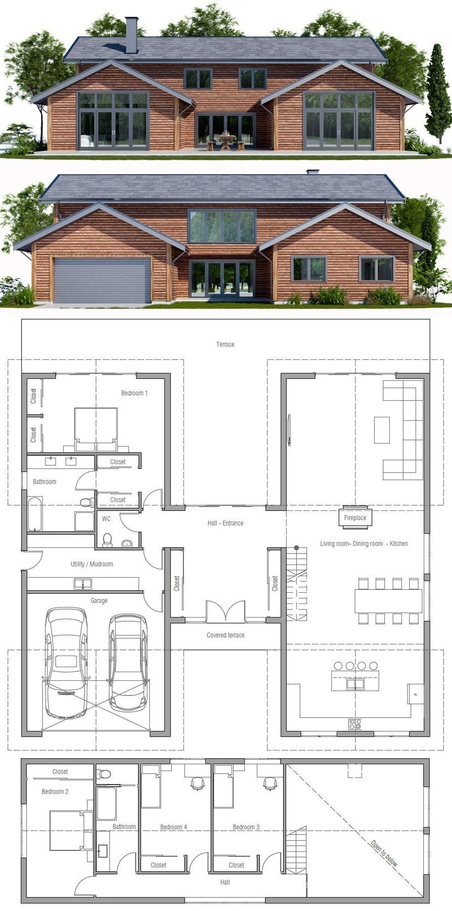 Modern farmhouse home plan
