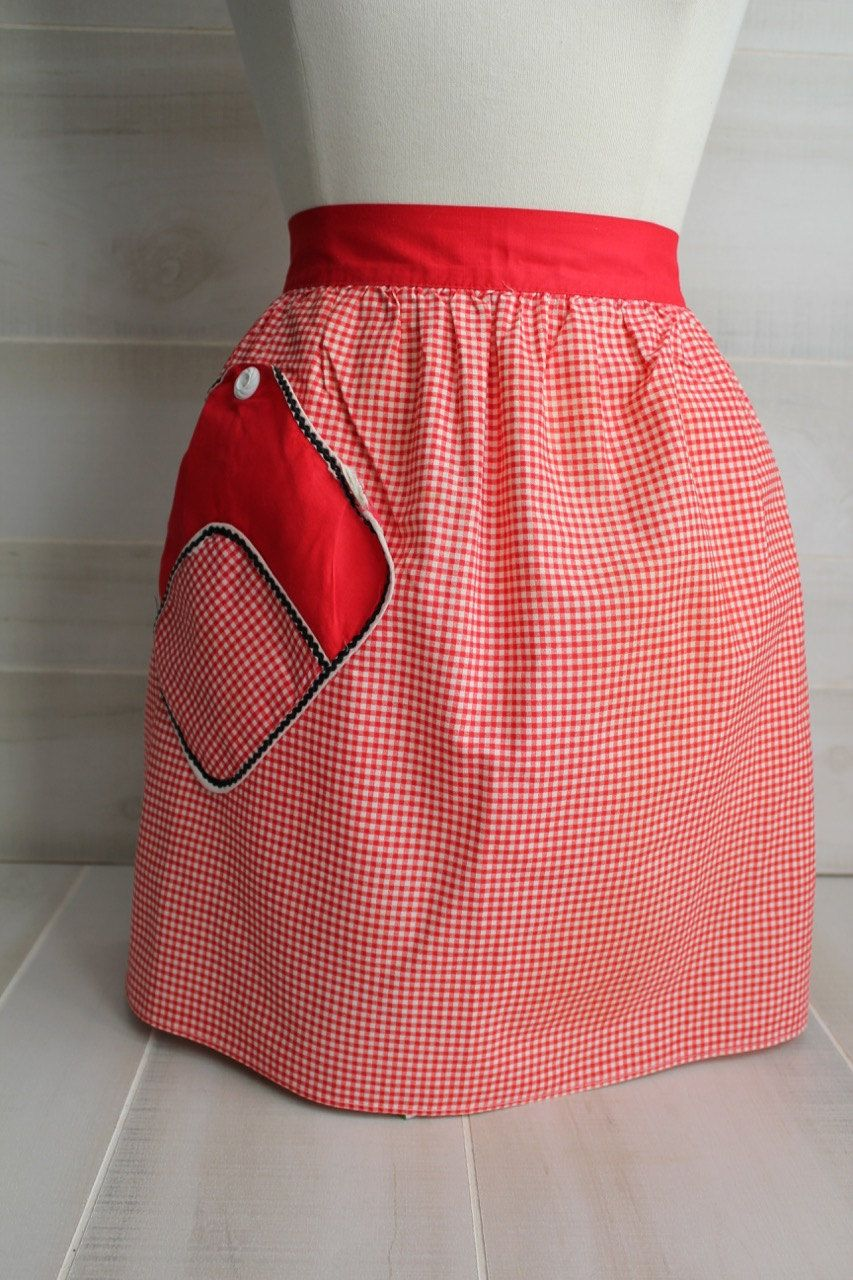 Vintage Red Gingham Half Apron by theloftonbroome on Etsy