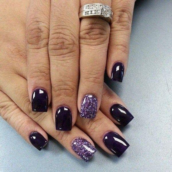 Dark Purple and Glitter Nail Design. - 30+ Chosen Purple Nail Art Designs Glitter Nail Designs, Glitter