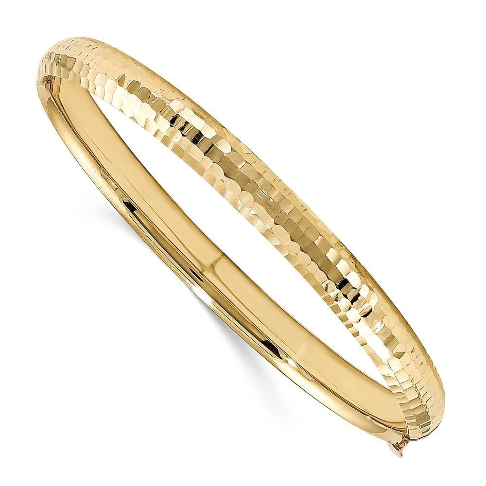 K yellow gold madi k kids polished diamond cut mm hinged baby