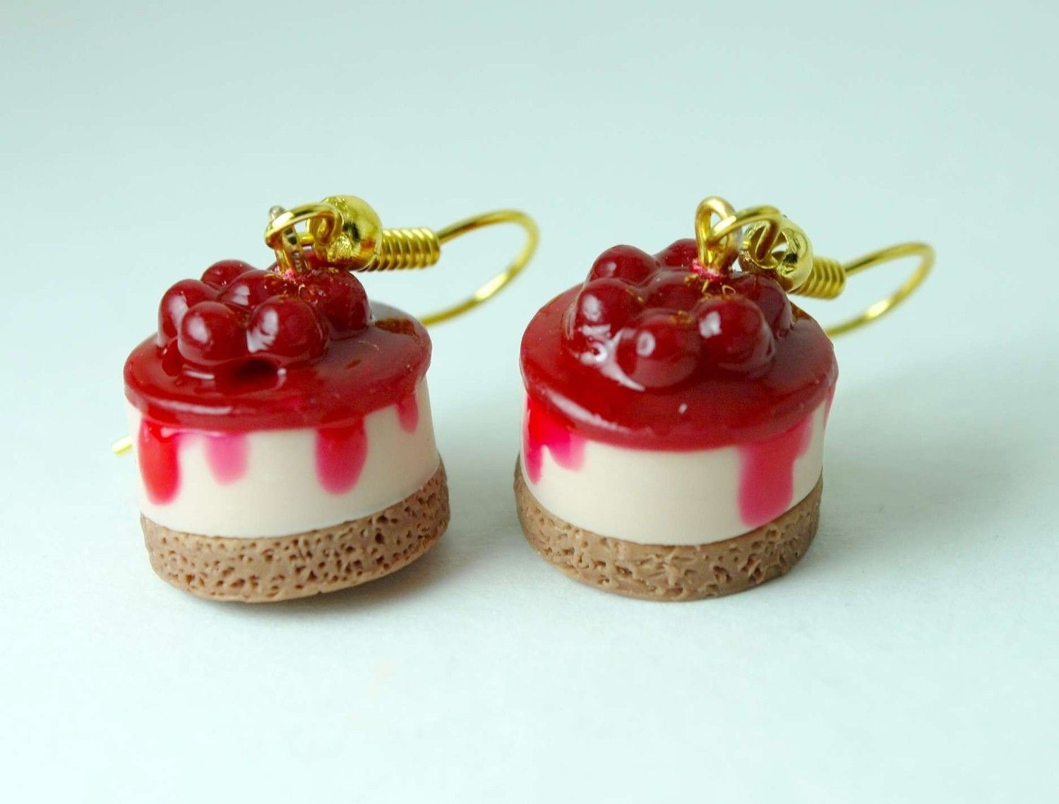 Cherry Cheesecake Frenzy Dangle Earring. Handmade Miniature Polymer Clay Food Jewelry.