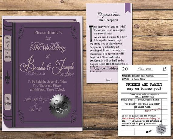 The Literary Wedding Book And Library Themed Invitation