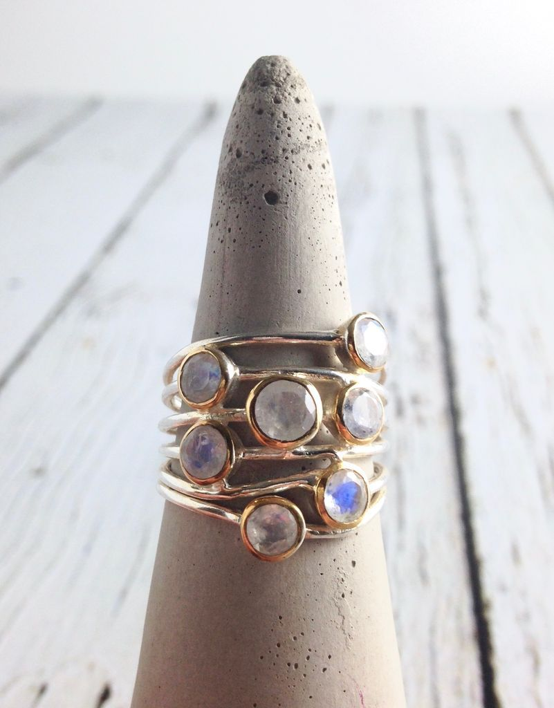 Ethereal Ring, Size 8 Sterling Silver ring with 7 Gold bezel set Rainbow Moonstones