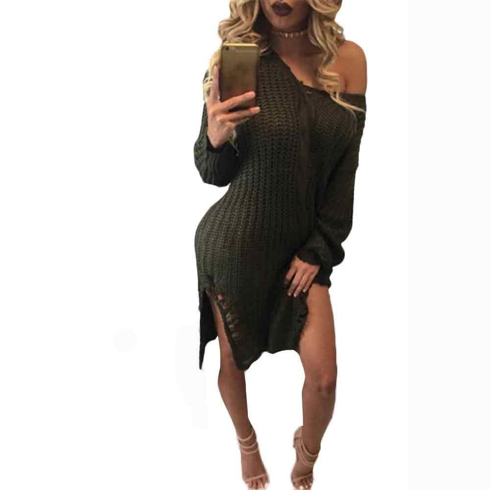 Fashion women sexy vneck long sleeve knit dress sweater knitting