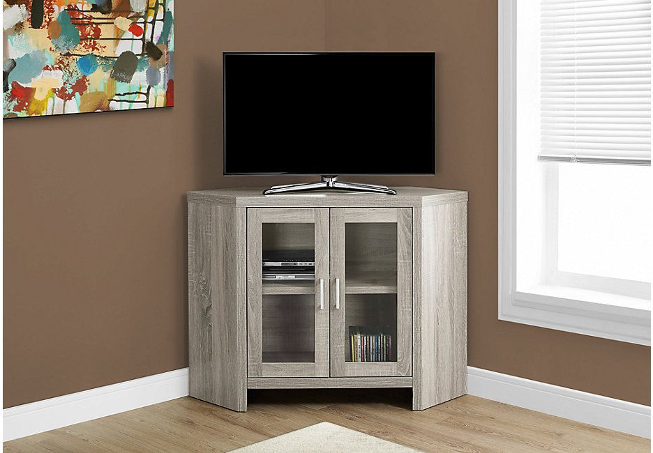Yesler Taupe 42 In Console 239 0 42w X 16d X 30h Find Affordable Tv Stands For Your Home That Wil Tv Stand With Glass Doors Glass Door Small Corner Cabinet