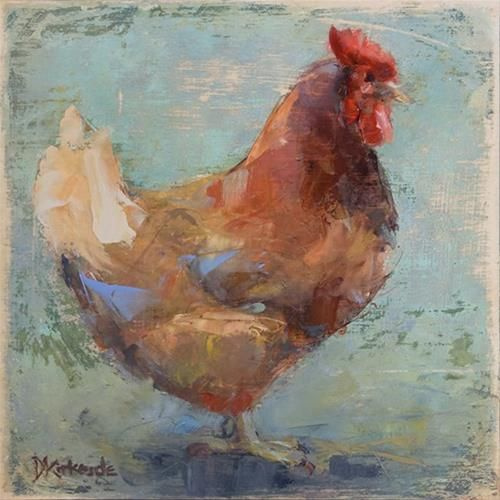 Original Fine Art For Sale: Original Chicken Painting By Deb