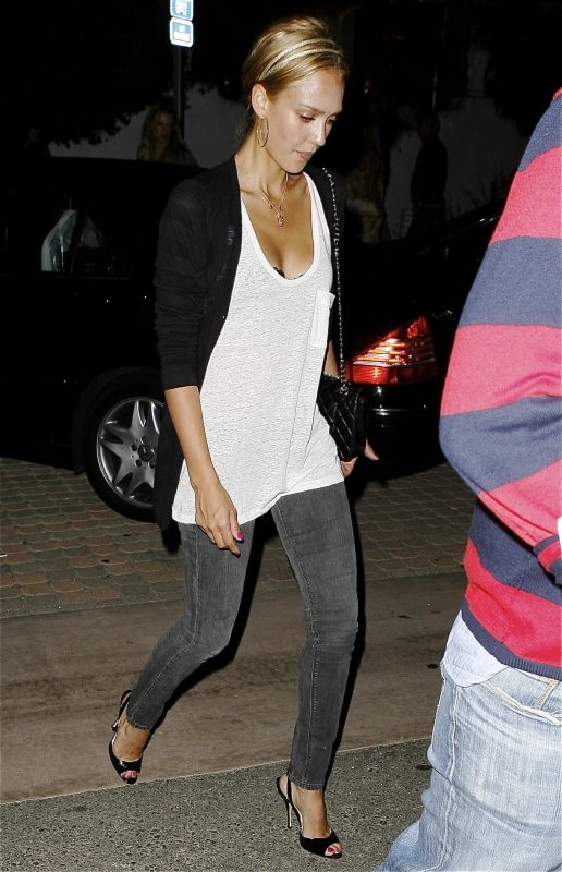 This is how I should wear my grey skinny jeans. White t, long black cardigan, and heels.