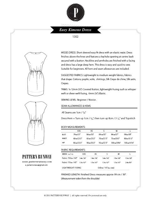 Pattern Runway: Easy Short Sleeved Kimono Dress ~ Great for beginner ...