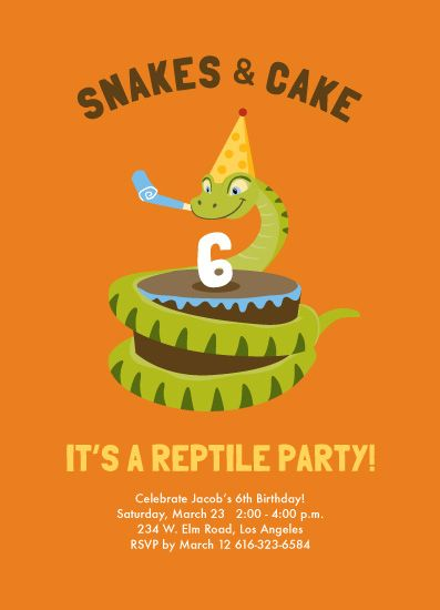 This fun reptile party invitation features a snake eating a cake