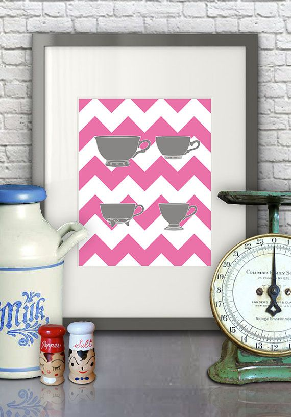 Measuring+Cups+Pink+Chevron++Kitchen+Art+by+littlemarbledesign,+$
