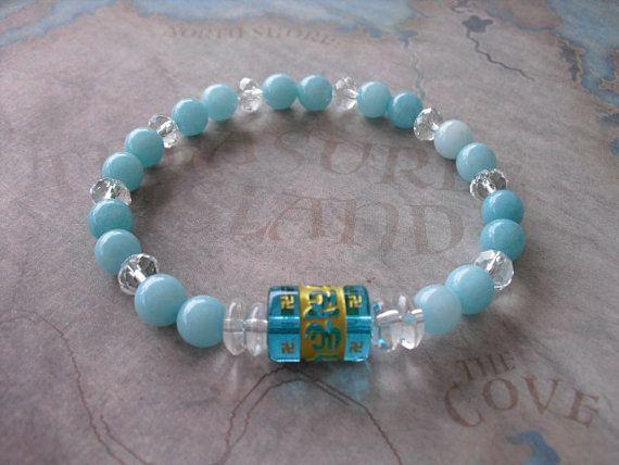 Buy Carved (om ) blue quartz & brazilian aquamarine bracelet by shynnasplace. Explore more products on http://shynnasplace.etsy.com