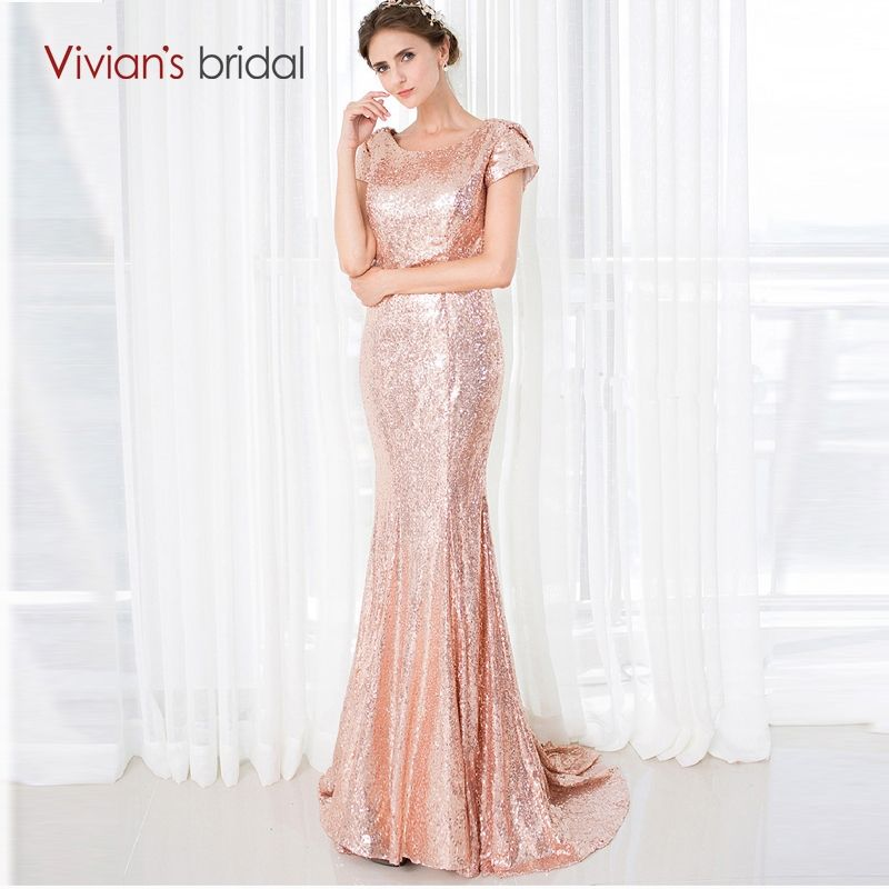 Vivian s Bridal Bridesmaid Dresses Long Short Sleeve Gold Sequin Mermaid Wedding  Party Dresses 18286 e6562be67600