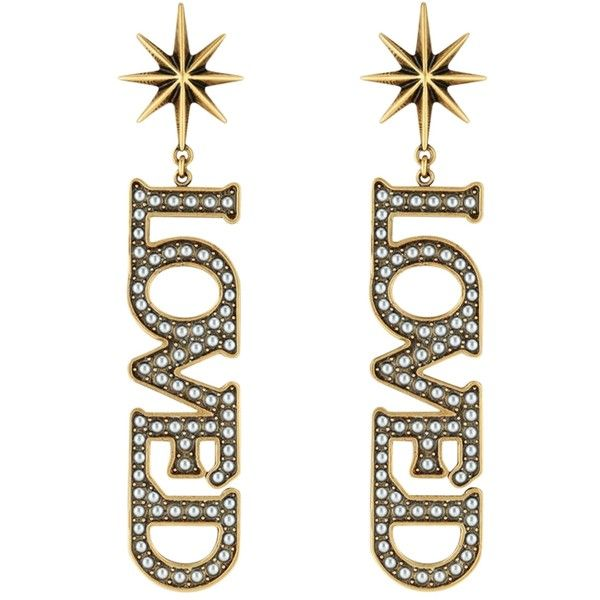 Gucci Loved Pendant Pearl Earrings ( 680) ❤ liked on Polyvore featuring  jewelry cac330b1e32e