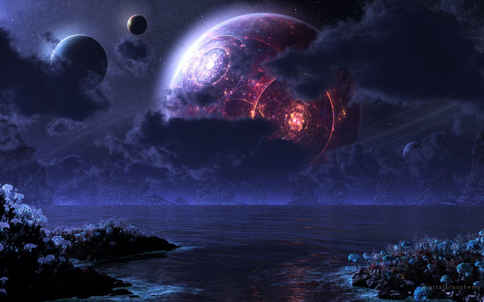 Digital Blasphemy 3d Wallpaper Phraxis Moon 2011 Free Scenery Wallpaper Planets Wallpaper Sci Fi Wallpaper