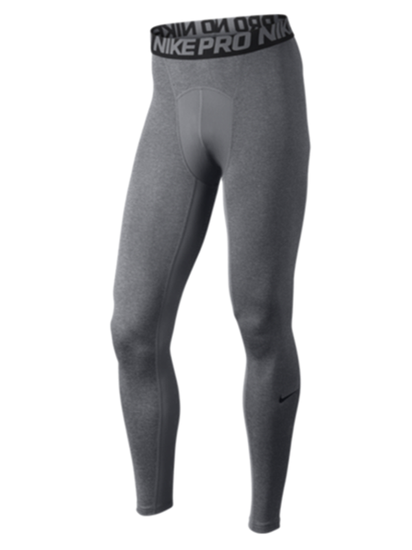 Nike Men Pro Cool Compression Tights Full Length Heather Gray Pants L
