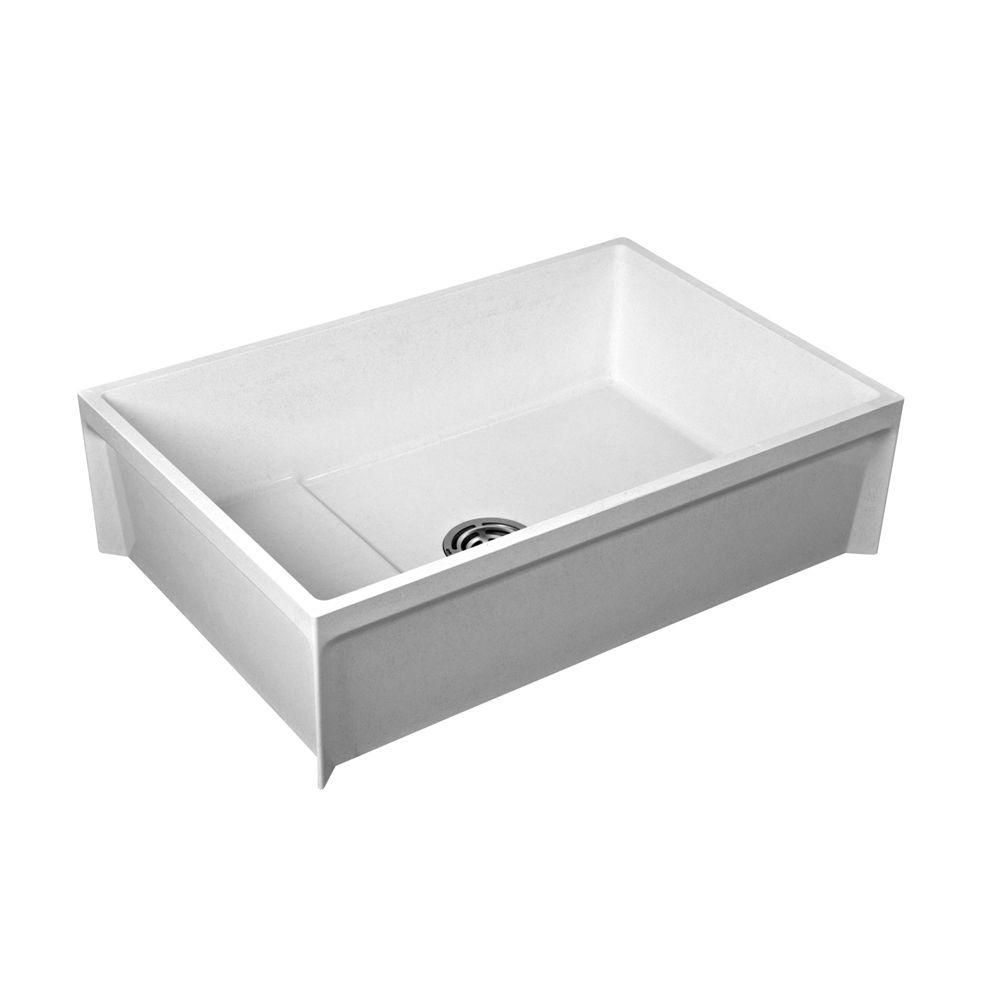 Fiat 24 In X 36 In X 12 In Molded Stone Floor Mount Mop Service Basin Tub In White Msb3624100 The Home Depot Floor Sink Mop Sink Dog Washing Station
