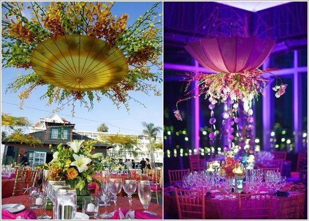 Upside Down Hanging Umbrellas With Flower Arrangements