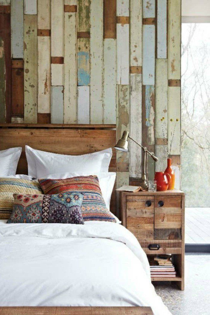 Schlafzimmer Landhausstil Dekokissen Cooles Bettkopfteil Wohnideen